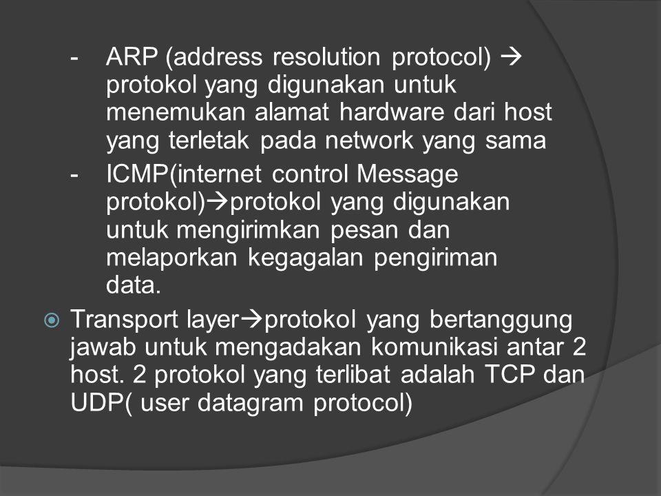 - ARP (address resolution protocol)  protokol yang digunakan untuk menemukan alamat hardware dari host yang terletak pada network yang sama - ICMP(in