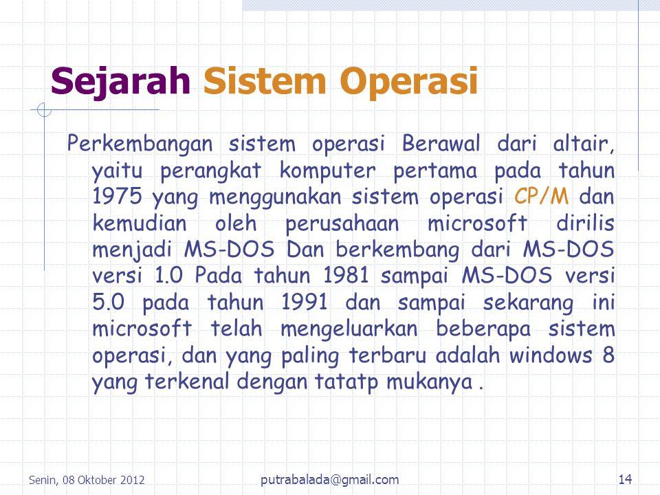 Sejarah Sistem Operasi Perkembangan sistem operasi Berawal dari altair, yaitu perangkat komputer pertama pada tahun 1975 yang menggunakan sistem opera