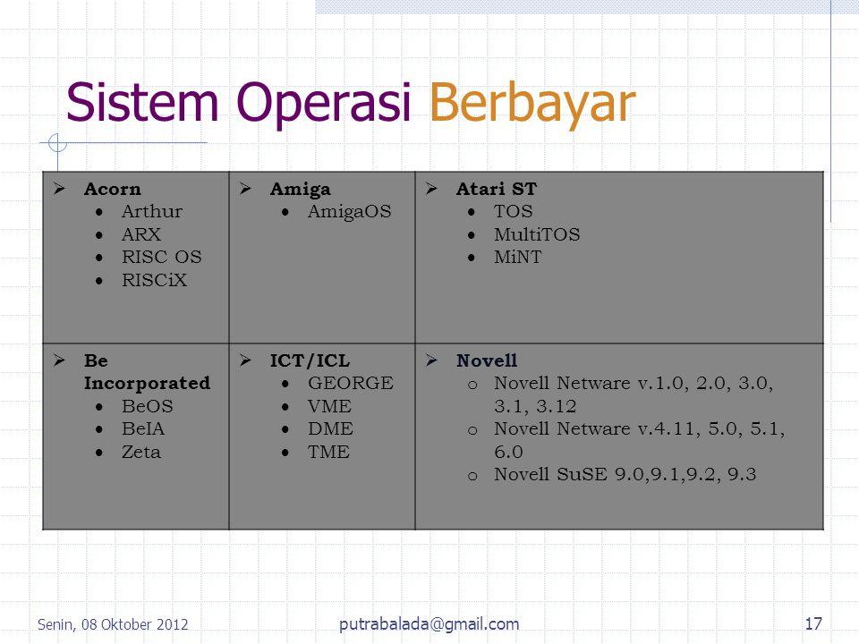 Sistem Operasi Berbayar Senin, 08 Oktober 2012 putrabalada@gmail.com17  Acorn  Arthur  ARX  RISC OS  RISCiX  Amiga  AmigaOS  Atari ST  TOS 