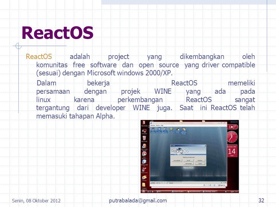 ReactOS ReactOS adalah project yang dikembangkan oleh komunitas free software dan open source yang driver compatible (sesuai) dengan Microsoft windows
