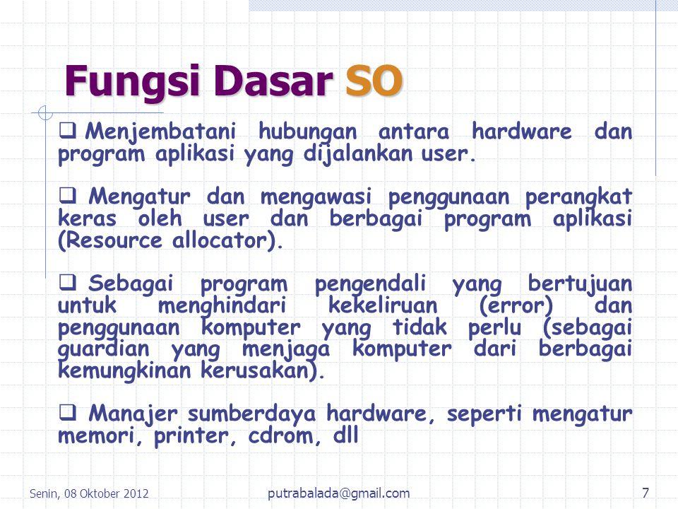 Senin, 08 Oktober 2012 7 Fungsi Dasar SO  Menjembatani hubungan antara hardware dan program aplikasi yang dijalankan user.  Mengatur dan mengawasi p