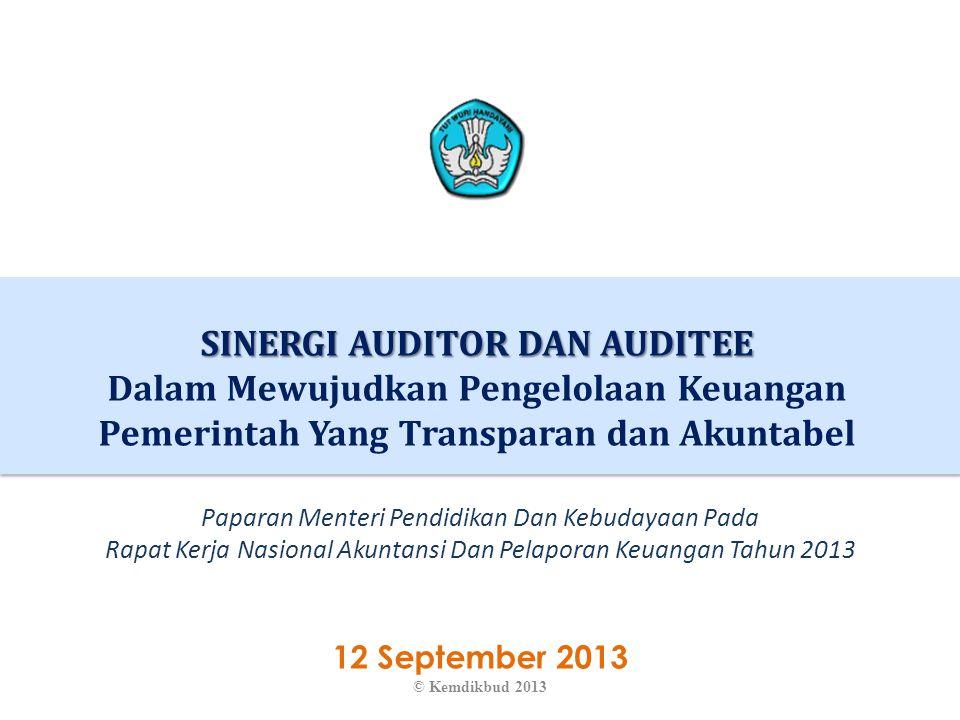 EKSPEKTASI TERHADAP AUDITOR 22 © Kemdikbud 2013 1.Audit dilakukan berdasarkan tujuan untuk meningkatkan akuntabilitas dan transparansi pengelolaan keuangan dan kinerja.