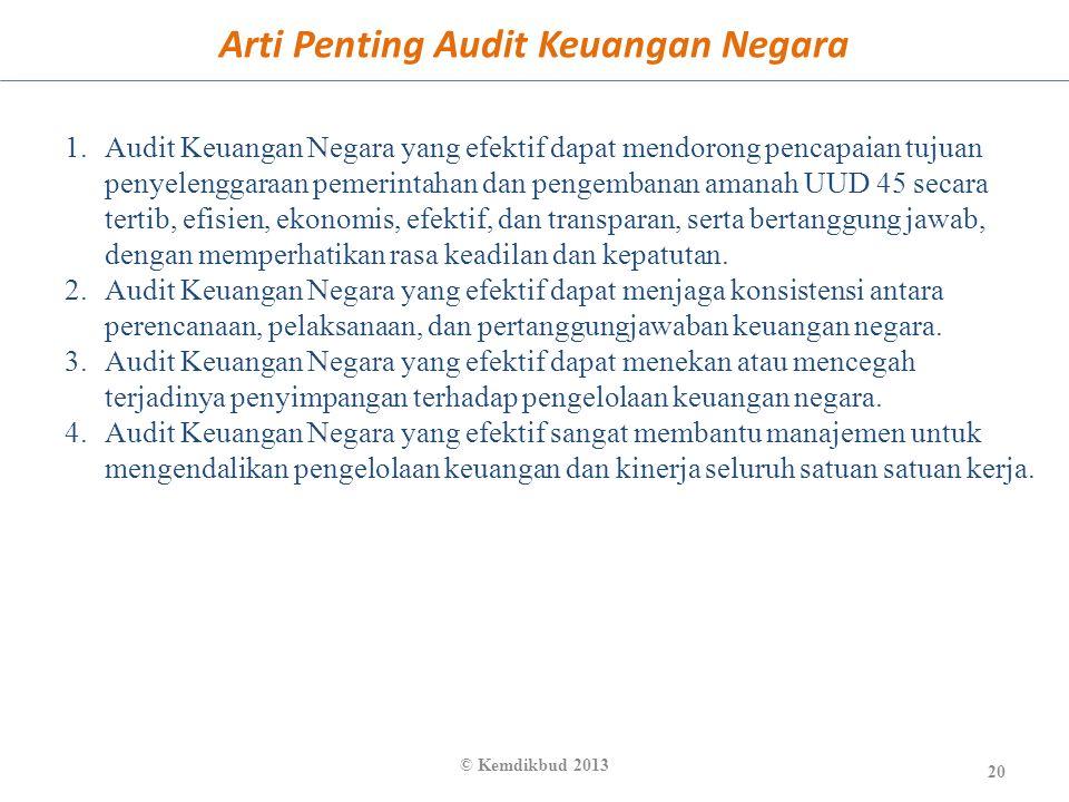 Arti Penting Audit Keuangan Negara 20 © Kemdikbud 2013 1.Audit Keuangan Negara yang efektif dapat mendorong pencapaian tujuan penyelenggaraan pemerint