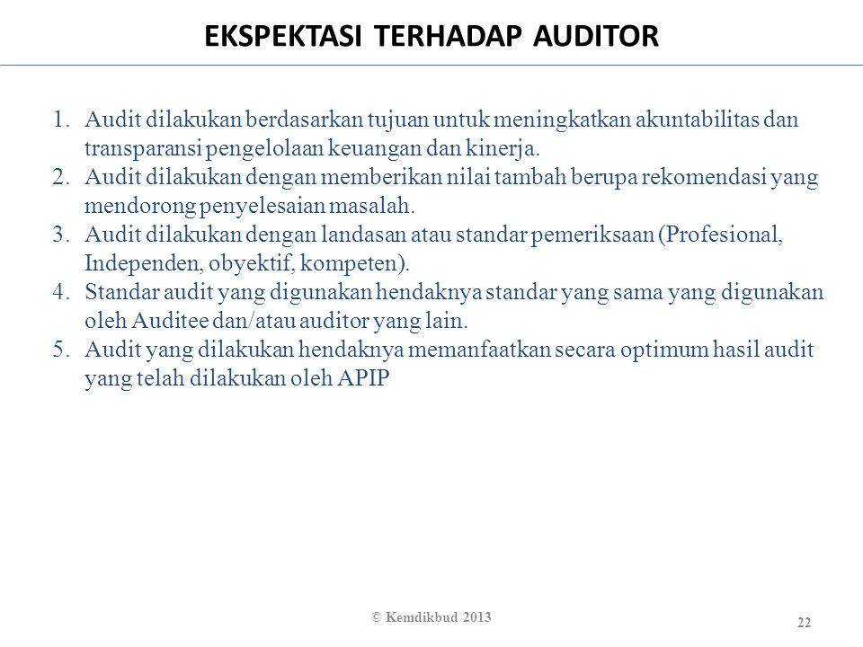 EKSPEKTASI TERHADAP AUDITOR 22 © Kemdikbud 2013 1.Audit dilakukan berdasarkan tujuan untuk meningkatkan akuntabilitas dan transparansi pengelolaan keu