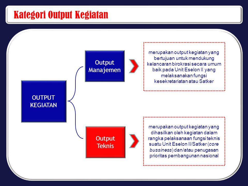 Kategori Output Kegiatan OUTPUT KEGIATAN Output Manajemen merupakan output kegiatan yang bertujuan untuk mendukung kelancaran birokrasi secara umum ba