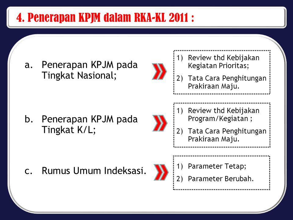 4. Penerapan KPJM dalam RKA-KL 2011 : a.Penerapan KPJM pada Tingkat Nasional; b.Penerapan KPJM pada Tingkat K/L; c.Rumus Umum Indeksasi. 1)Review thd