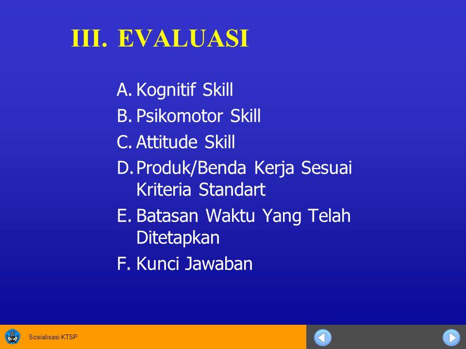 Sosialisasi KTSP III.EVALUASI A.Kognitif Skill B.Psikomotor Skill C.Attitude Skill D.Produk/Benda Kerja Sesuai Kriteria Standart E.Batasan Waktu Yang Telah Ditetapkan F.Kunci Jawaban
