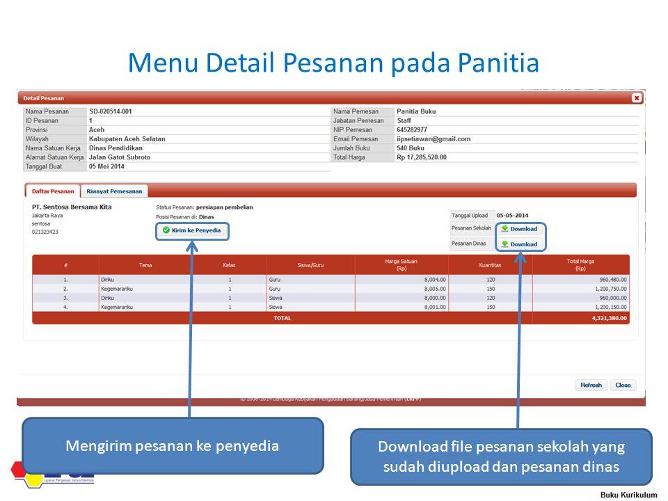 Menu Detail Pesanan pada Panitia Download file pesanan sekolah yang sudah diupload dan pesanan dinas Mengirim pesanan ke penyedia