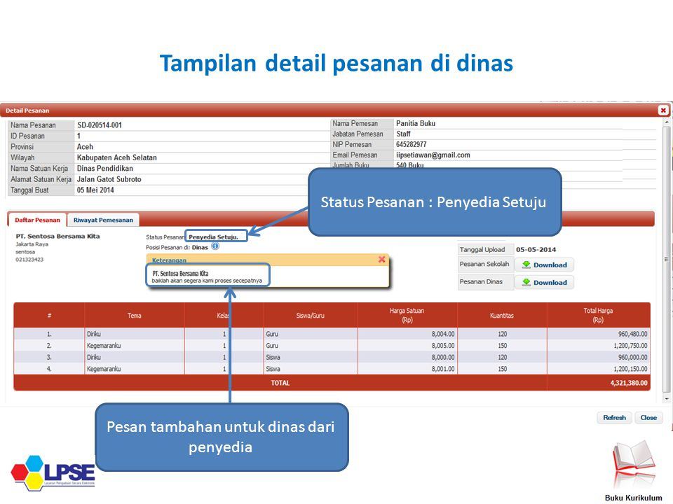 Tampilan detail pesanan di dinas Pesan tambahan untuk dinas dari penyedia Status Pesanan : Penyedia Setuju