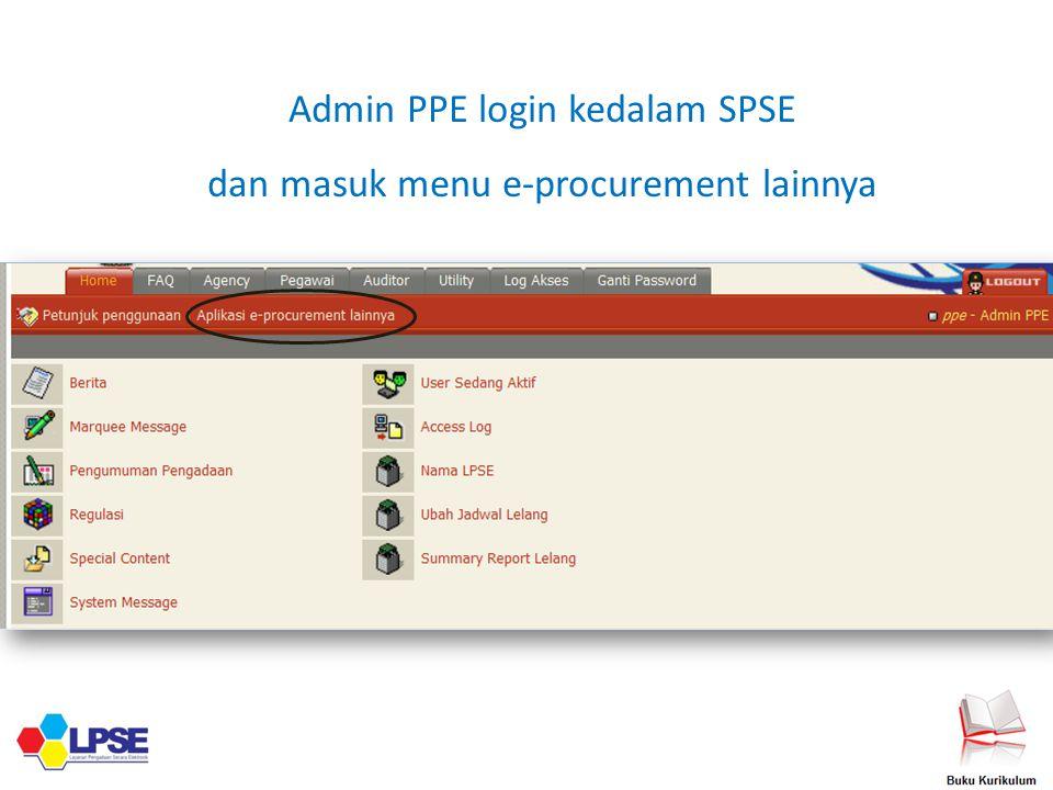 Admin PPE login kedalam SPSE dan masuk menu e-procurement lainnya