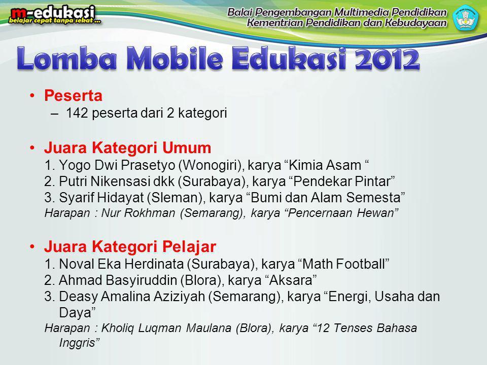 """Peserta –142 peserta dari 2 kategori Juara Kategori Umum 1.Yogo Dwi Prasetyo (Wonogiri), karya """"Kimia Asam """" 2.Putri Nikensasi dkk (Surabaya), karya """""""