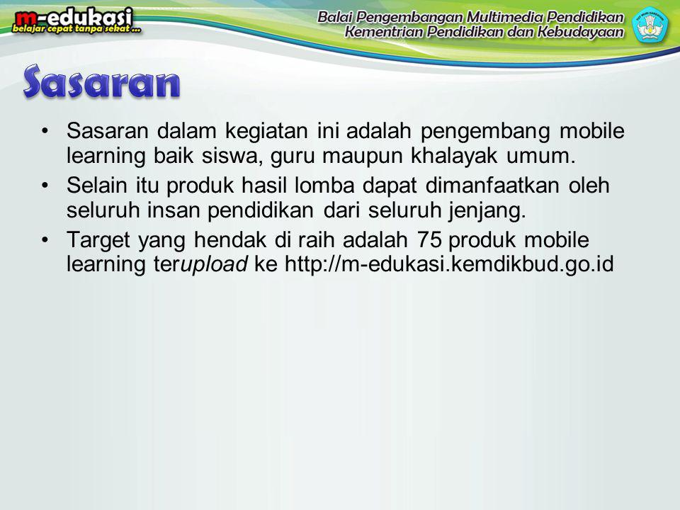 Sasaran dalam kegiatan ini adalah pengembang mobile learning baik siswa, guru maupun khalayak umum.
