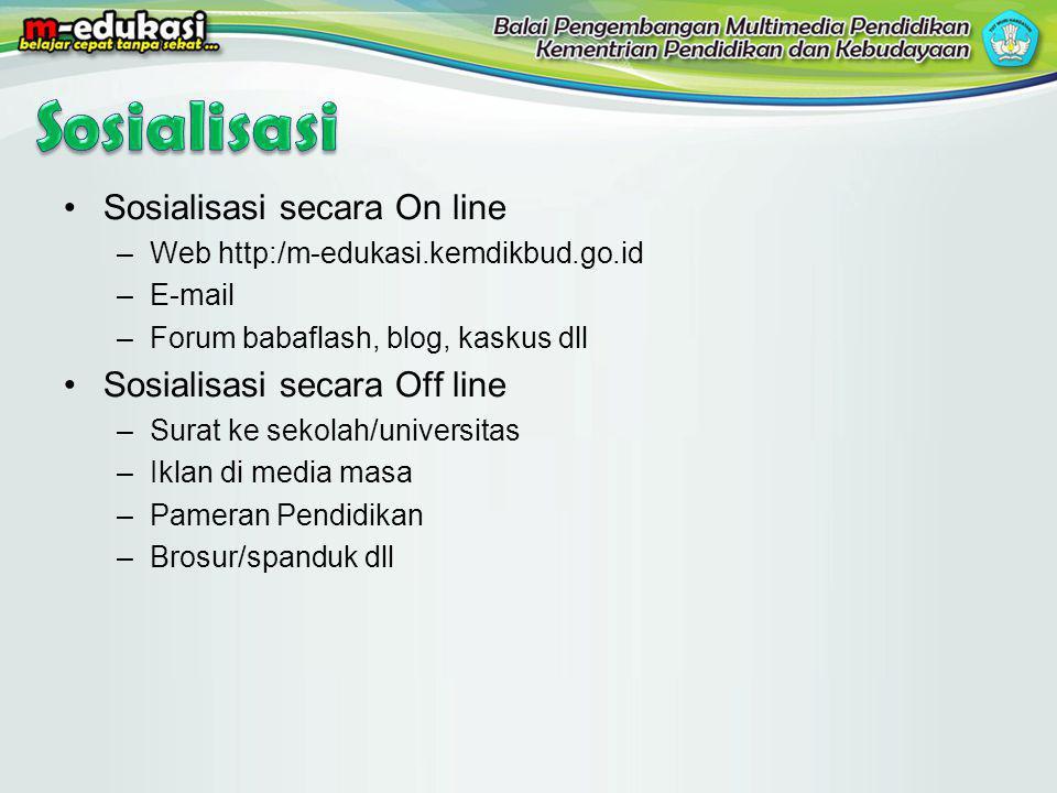 Sosialisasi secara On line –Web http:/m-edukasi.kemdikbud.go.id –E-mail –Forum babaflash, blog, kaskus dll Sosialisasi secara Off line –Surat ke sekol