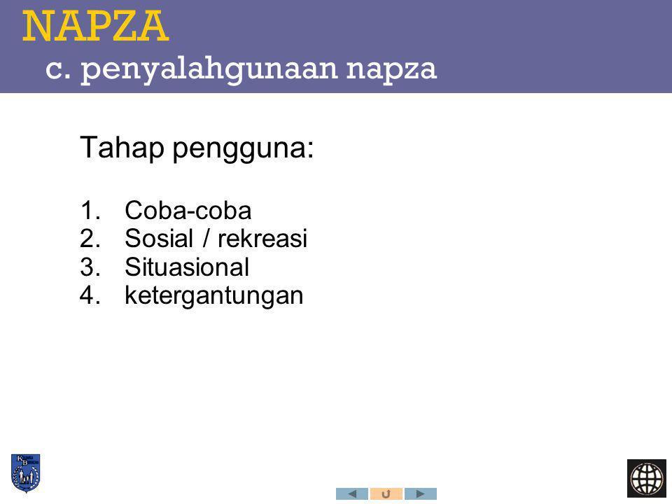 NAPZA c. penyalahgunaan napza Tahap pengguna: 1.Coba-coba 2.Sosial / rekreasi 3.Situasional 4.ketergantungan