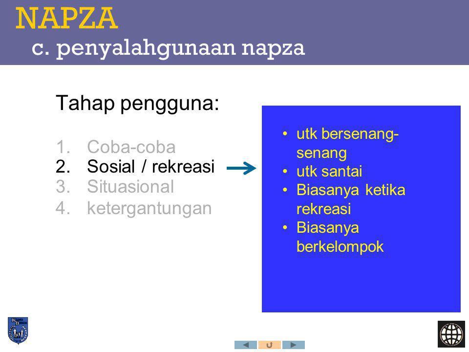 NAPZA c. penyalahgunaan napza Tahap pengguna: 1.Coba-coba 2.Sosial / rekreasi 3.Situasional 4.ketergantungan utk bersenang- senang utk santai Biasanya