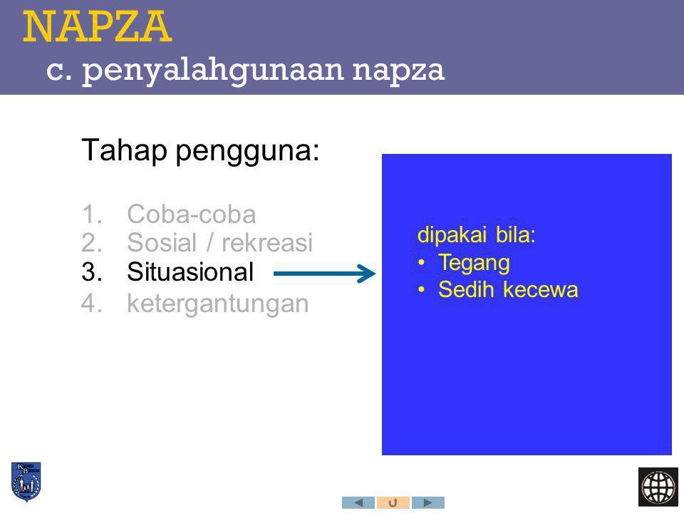 NAPZA c. penyalahgunaan napza Tahap pengguna: 1.Coba-coba 2.Sosial / rekreasi 3.Situasional 4.ketergantungan dipakai bila: Tegang Sedih kecewa