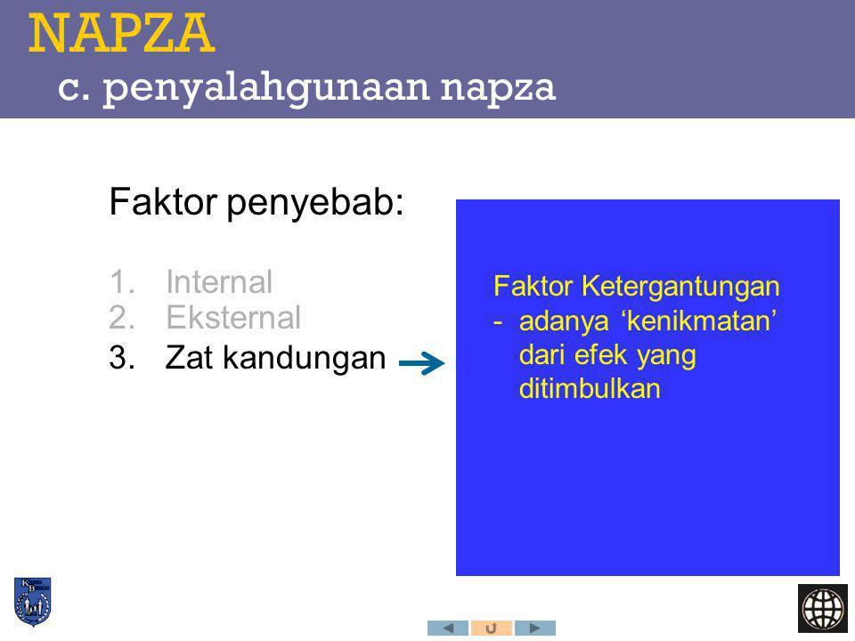 NAPZA c. penyalahgunaan napza Faktor penyebab: 1.Internal 2.Eksternal 3.Zat kandungan Faktor Ketergantungan -adanya 'kenikmatan' dari efek yang ditimb