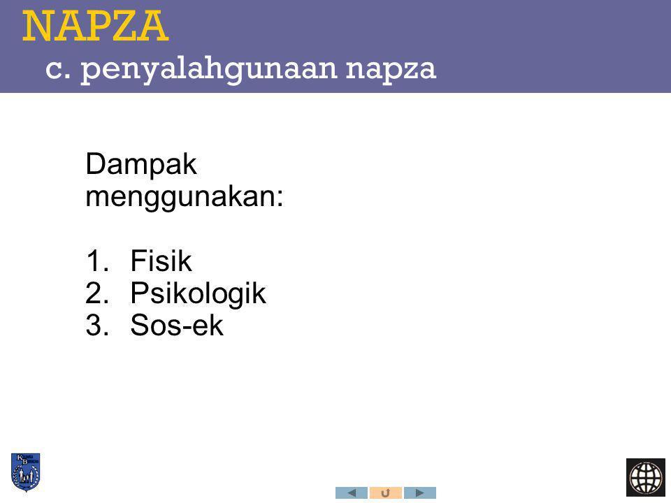 NAPZA c. penyalahgunaan napza Dampak menggunakan: 1.Fisik 2.Psikologik 3.Sos-ek