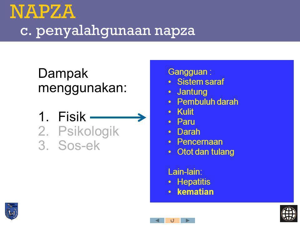 NAPZA c. penyalahgunaan napza Dampak menggunakan: 1.Fisik 2.Psikologik 3.Sos-ek Gangguan : Sistem saraf Jantung Pembuluh darah Kulit Paru Darah Pencer