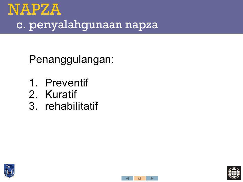NAPZA c. penyalahgunaan napza Penanggulangan: 1.Preventif 2.Kuratif 3.rehabilitatif