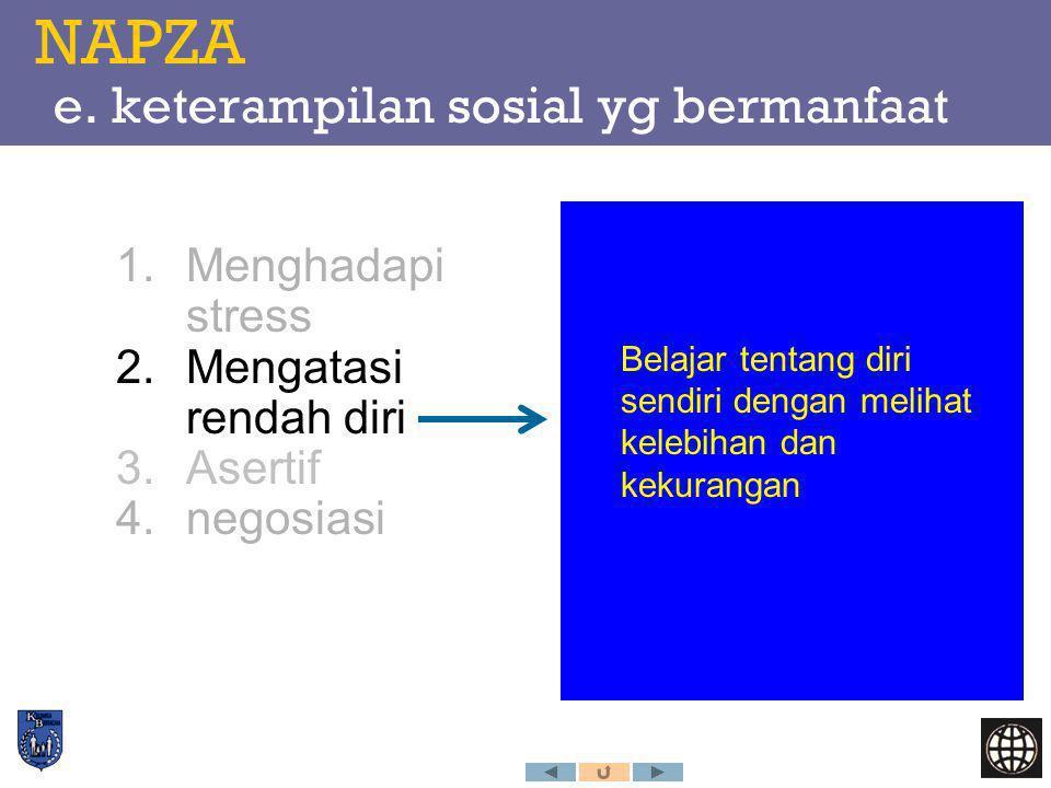 NAPZA e. keterampilan sosial yg bermanfaat 1.Menghadapi stress 2.Mengatasi rendah diri 3.Asertif 4.negosiasi Belajar tentang diri sendiri dengan melih