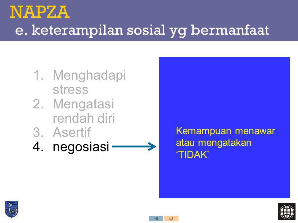 NAPZA e. keterampilan sosial yg bermanfaat 1.Menghadapi stress 2.Mengatasi rendah diri 3.Asertif 4.negosiasi Kemampuan menawar atau mengatakan 'TIDAK'