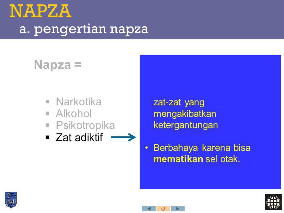 NAPZA a. pengertian napza Napza =  Narkotika  Alkohol  Psikotropika  Zat adiktif zat-zat yang mengakibatkan ketergantungan Berbahaya karena bisa m