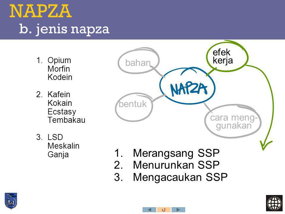NAPZA b. jenis napza bahan efek kerja cara meng- gunakan bentuk 1.Merangsang SSP 2.Menurunkan SSP 3.Mengacaukan SSP 1.Opium Morfin Kodein 2.Kafein Kok
