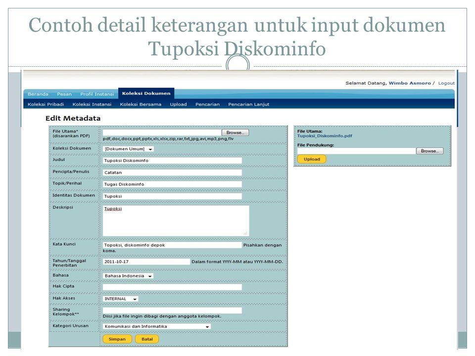 Contoh detail keterangan untuk input dokumen Tupoksi Diskominfo