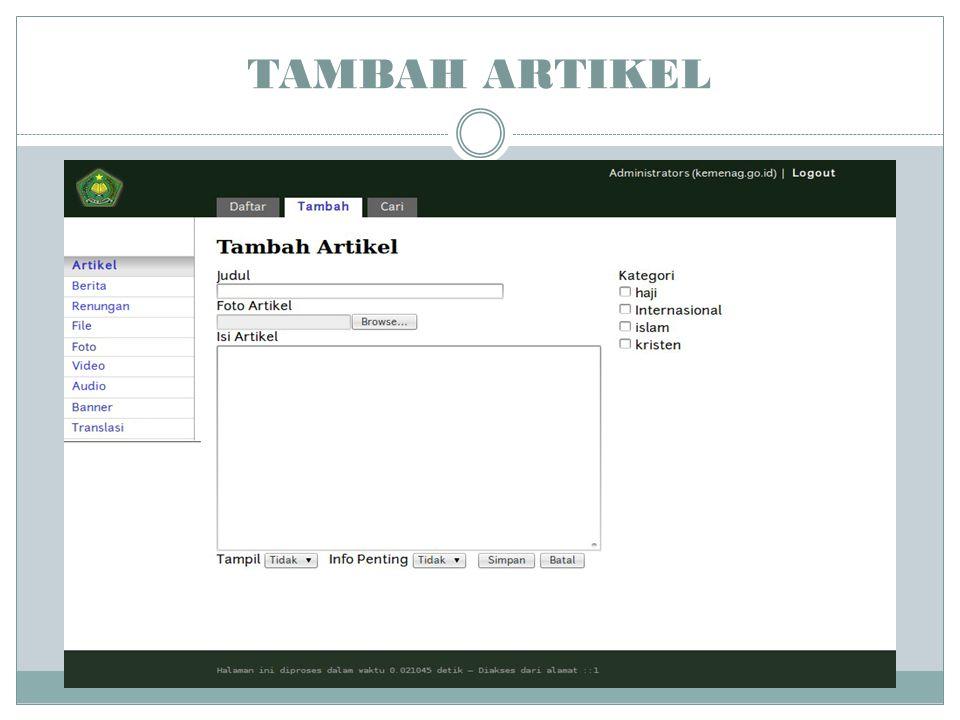 TAMBAH ARTIKEL