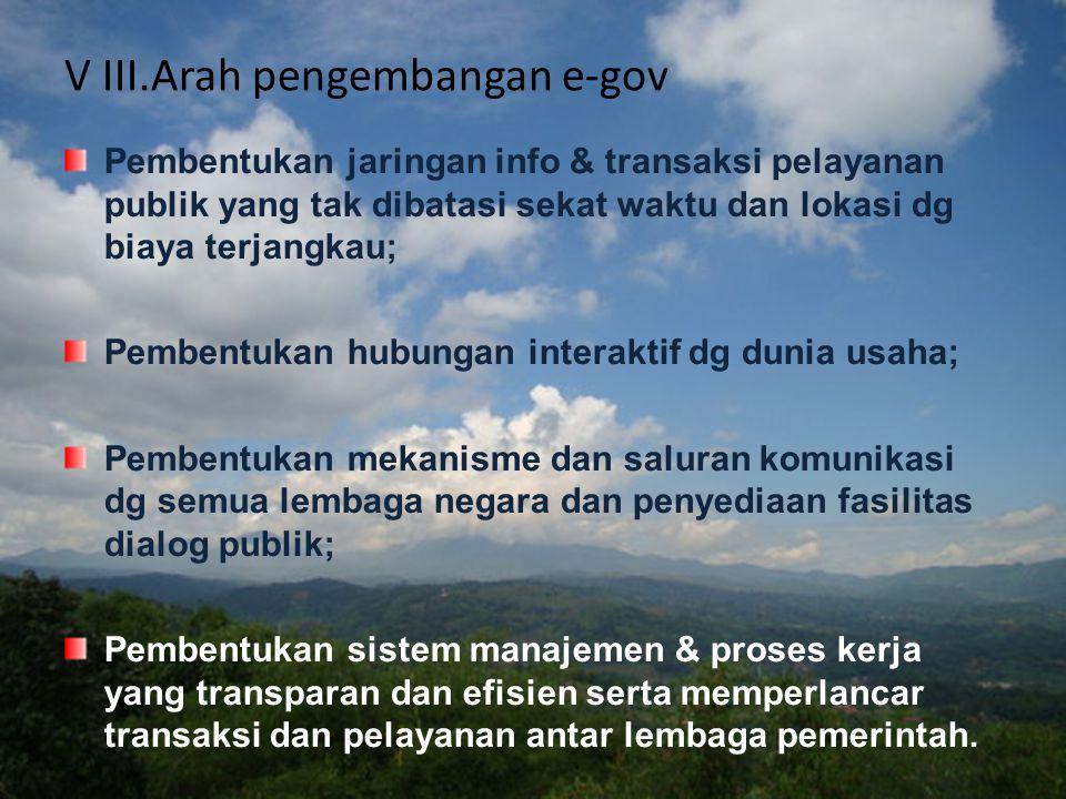 VII.Langkah-langkah Pengembangan e-Government (Inpres No: 3/2003) 1.mengambil langkah sesuai tusiwen guna pengembangan e-Gov berpedoman pada kebijakan