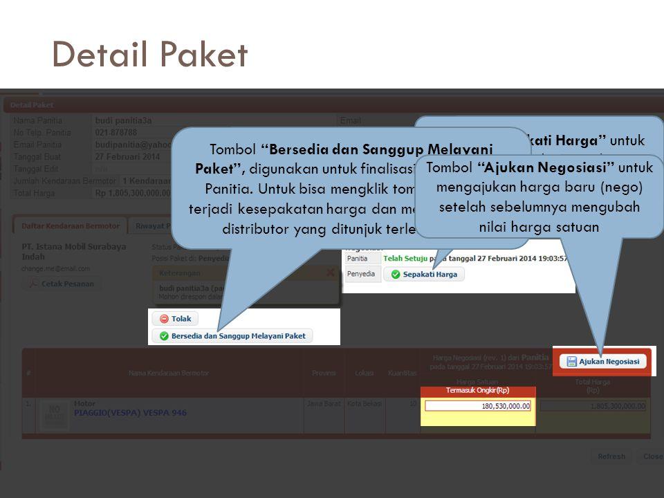 """Detail Paket  Lalu akan muncul detail paket  Ada beberapa tombol penting di detail paket  """"Sepakati Harga"""", digunakan untuk menyetujui posisi harga"""