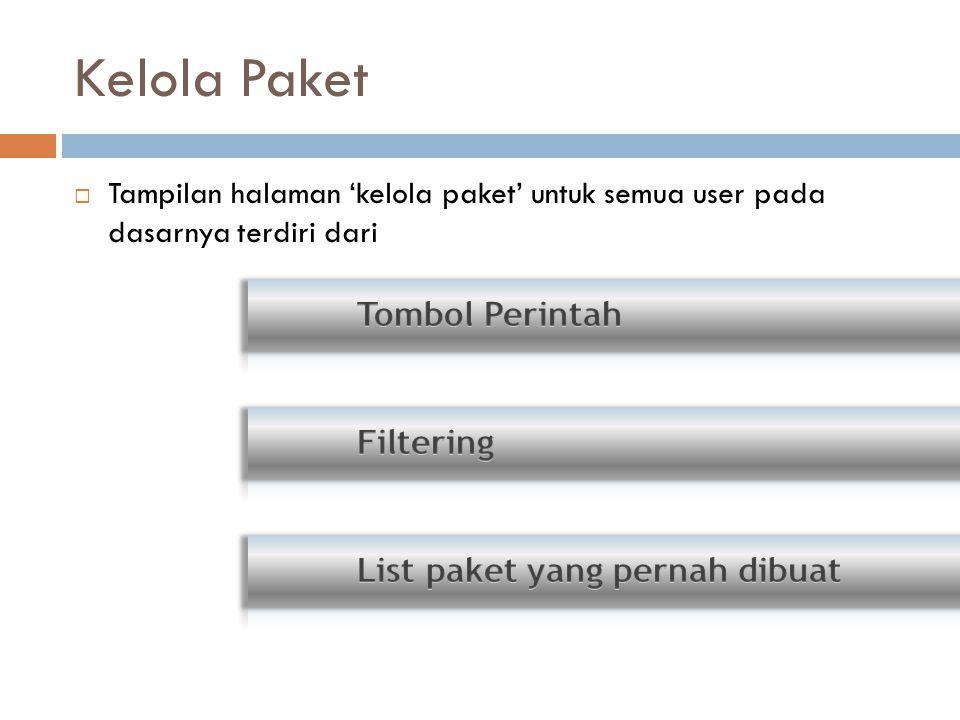 Kelola Paket  Tampilan halaman 'kelola paket' untuk semua user pada dasarnya terdiri dari