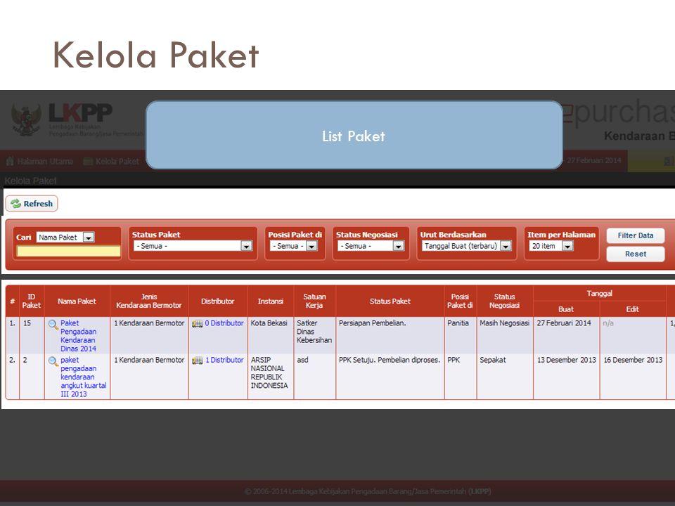 Kelola Paket Tombol PerintahFungsi FilteringList Paket