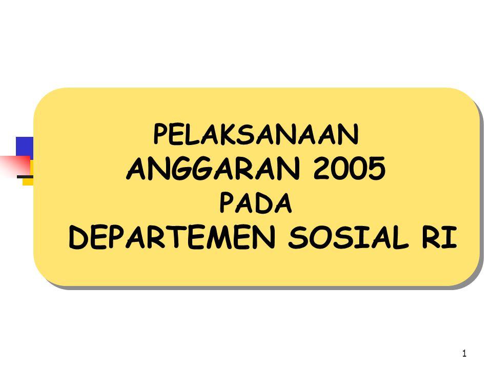 1 PELAKSANAAN ANGGARAN 2005 PADA DEPARTEMEN SOSIAL RI PELAKSANAAN ANGGARAN 2005 PADA DEPARTEMEN SOSIAL RI