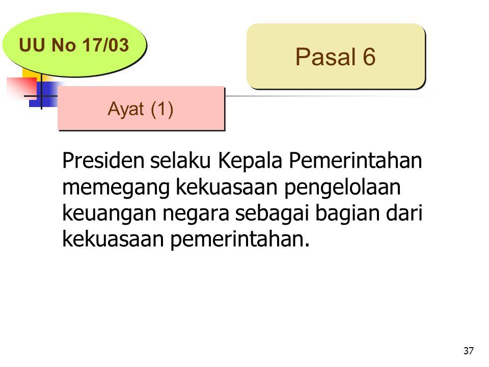 37 Presiden selaku Kepala Pemerintahan memegang kekuasaan pengelolaan keuangan negara sebagai bagian dari kekuasaan pemerintahan.