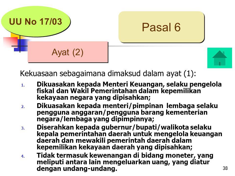 38 Ayat (2) Pasal 6 UU No 17/03 Kekuasaan sebagaimana dimaksud dalam ayat (1): 1.