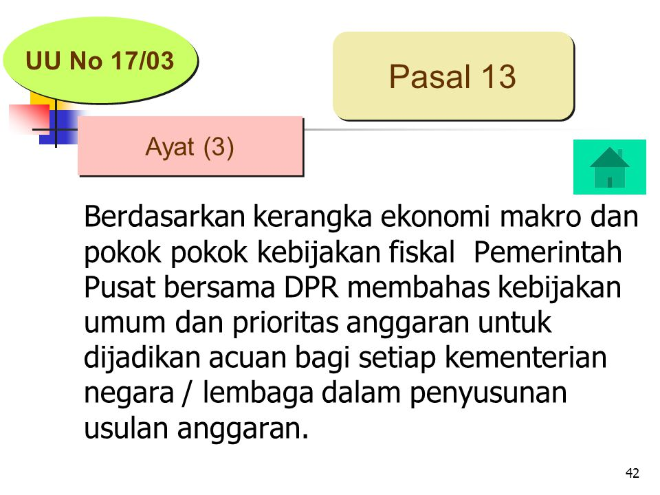 42 Berdasarkan kerangka ekonomi makro dan pokok pokok kebijakan fiskal Pemerintah Pusat bersama DPR membahas kebijakan umum dan prioritas anggaran untuk dijadikan acuan bagi setiap kementerian negara / lembaga dalam penyusunan usulan anggaran.