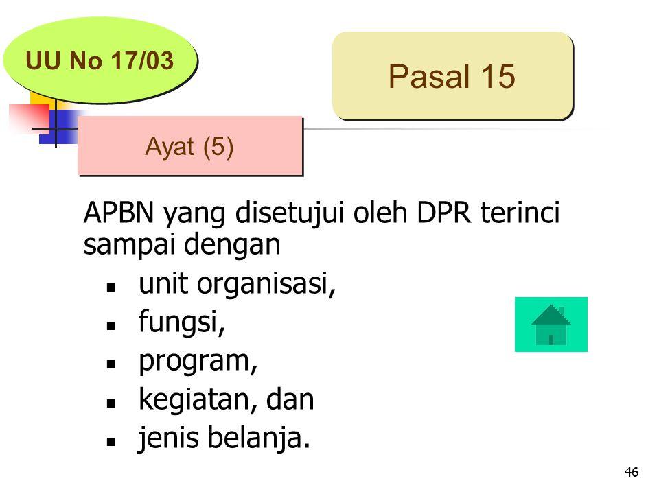 46 APBN yang disetujui oleh DPR terinci sampai dengan unit organisasi, fungsi, program, kegiatan, dan jenis belanja.