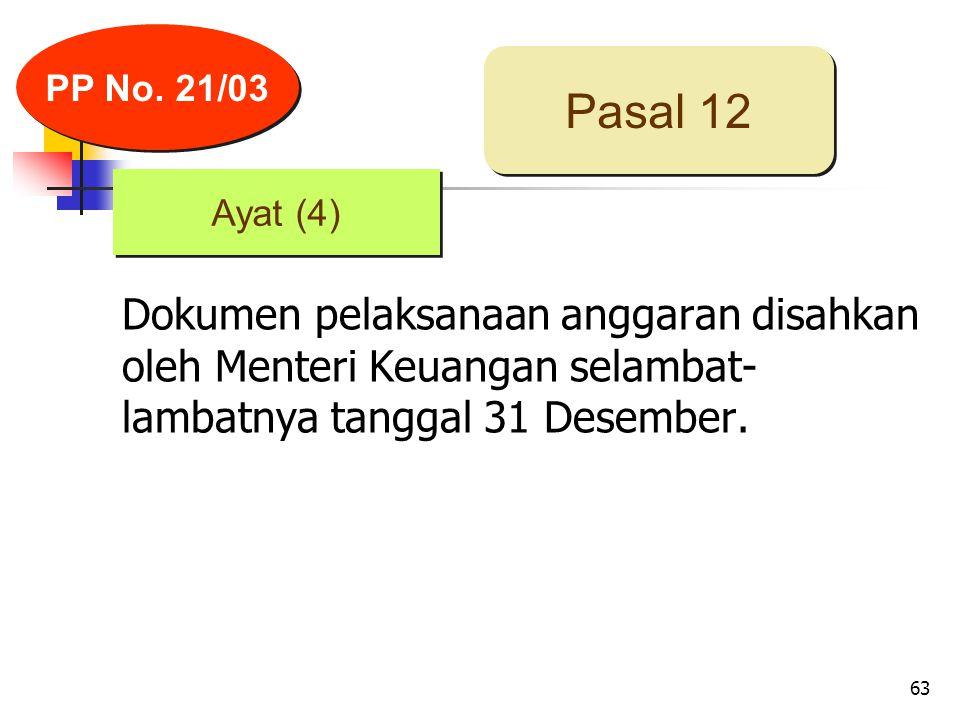 63 Dokumen pelaksanaan anggaran disahkan oleh Menteri Keuangan selambat- lambatnya tanggal 31 Desember.