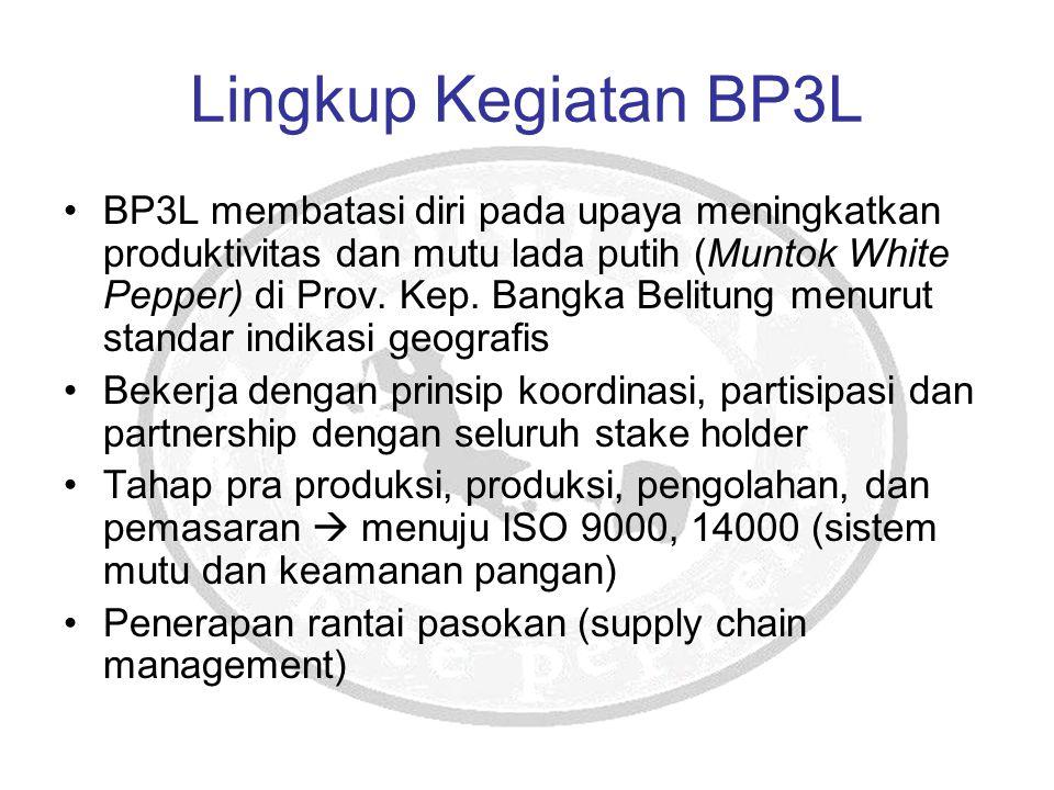 Lingkup Kegiatan BP3L BP3L membatasi diri pada upaya meningkatkan produktivitas dan mutu lada putih (Muntok White Pepper) di Prov. Kep. Bangka Belitun