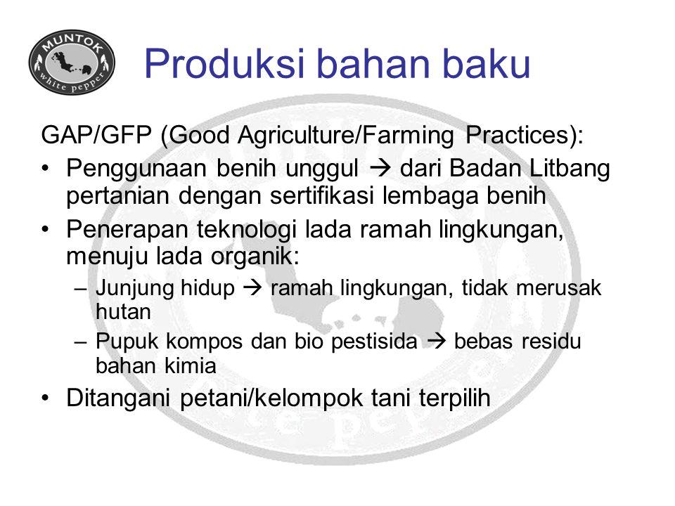 Produksi bahan baku GAP/GFP (Good Agriculture/Farming Practices): Penggunaan benih unggul  dari Badan Litbang pertanian dengan sertifikasi lembaga be