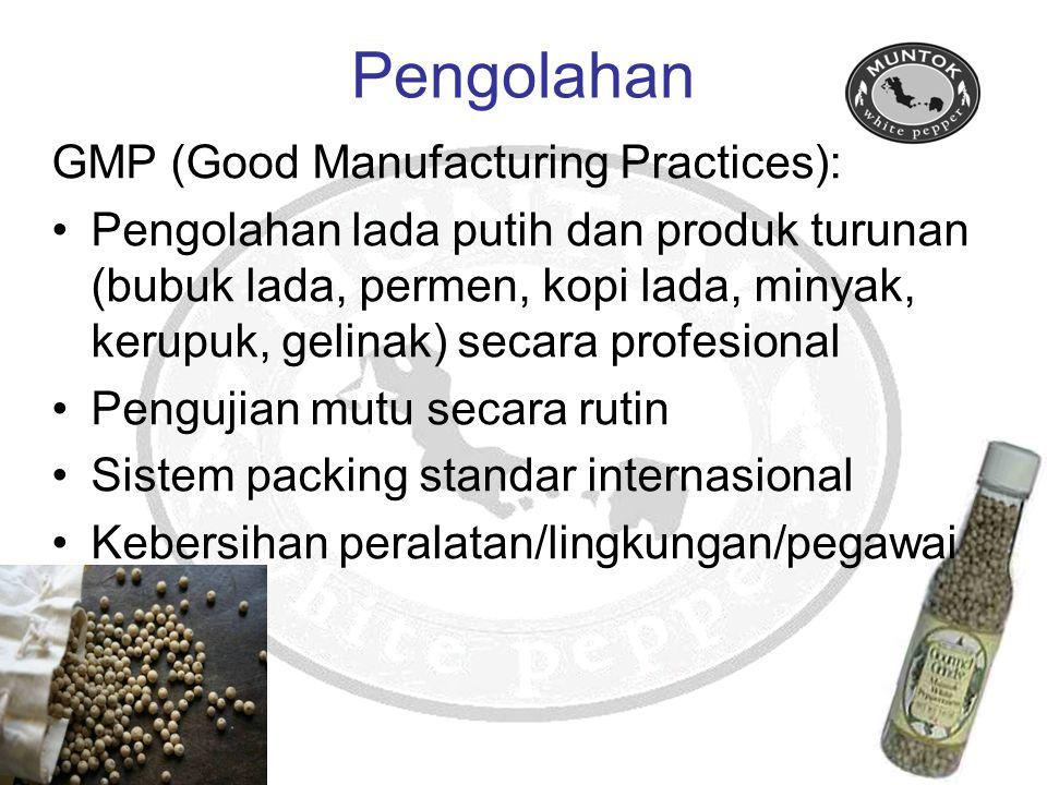Pengolahan GMP (Good Manufacturing Practices): Pengolahan lada putih dan produk turunan (bubuk lada, permen, kopi lada, minyak, kerupuk, gelinak) seca