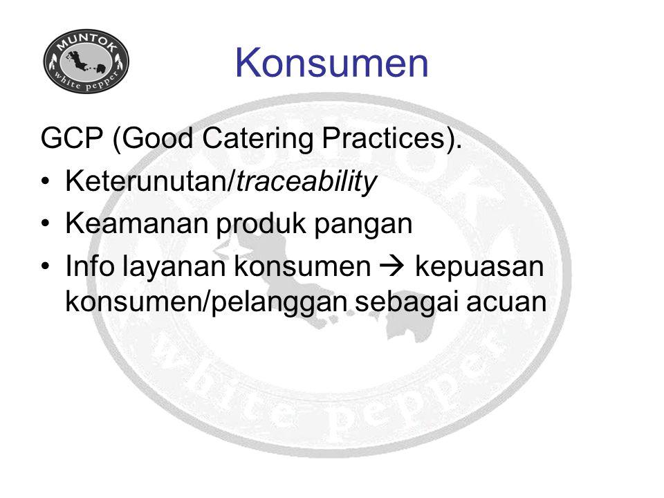 Konsumen GCP (Good Catering Practices). Keterunutan/traceability Keamanan produk pangan Info layanan konsumen  kepuasan konsumen/pelanggan sebagai ac