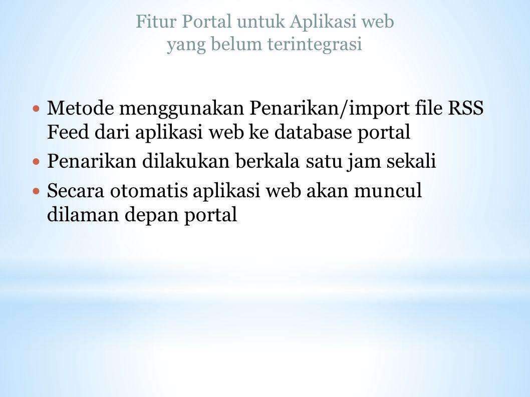 Fitur Portal untuk Aplikasi web yang belum terintegrasi Metode menggunakan Penarikan/import file RSS Feed dari aplikasi web ke database portal Penarik