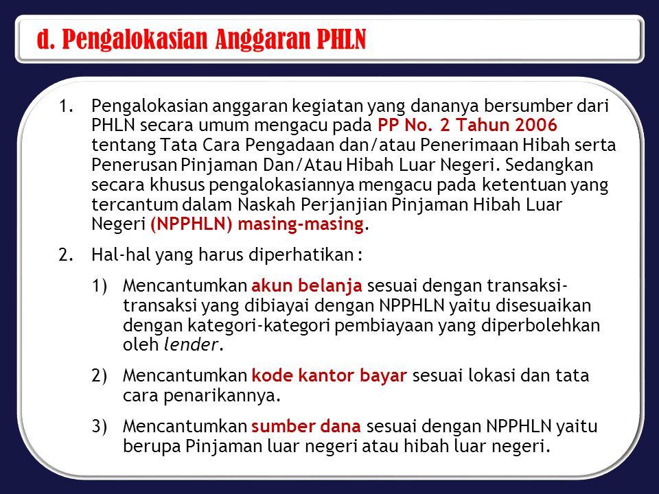 4)Mencantumkan tata cara penarikan PHLN sesuai dengan tata cara penarikan PHLN yang diatur dalam NPPHLN atau dokumen lain yang telah disetujui oleh lender.