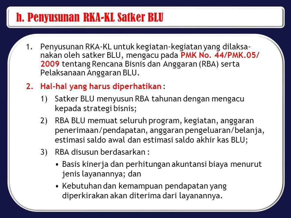 4)Satker BLU yang telah mampu menyusun standar biaya menurut jenis layanannya berdasarkan perhitungan akuntansi biaya maka penyusunan RBA-nya mengunakan standar biaya tersebut, sedangkan untuk satker BLU yang belum mampu menyusun standar biaya, RBA disusun berdasarkan Standar Biaya Umum (SBU); 5)Pagu dana pada ikhtisar RBA pada komponen PNBP dan Rupiah Murni (RM) harus sama dengan alokasi anggaran pada pagu sementara.