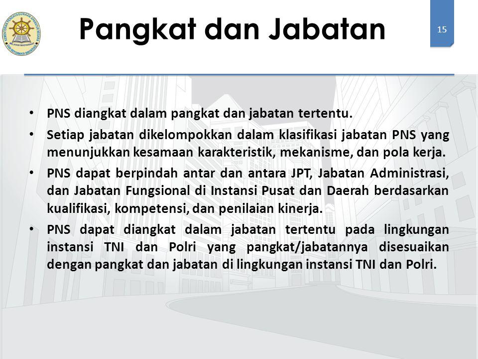 15 PNS diangkat dalam pangkat dan jabatan tertentu.