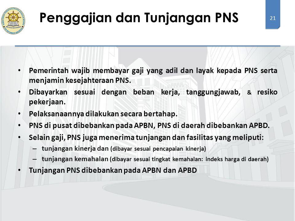 21 Pemerintah wajib membayar gaji yang adil dan layak kepada PNS serta menjamin kesejahteraan PNS. Dibayarkan sesuai dengan beban kerja, tanggungjawab