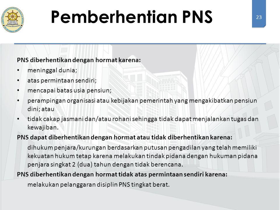 23 PNS diberhentikan dengan hormat karena: meninggal dunia; atas permintaan sendiri; mencapai batas usia pensiun; perampingan organisasi atau kebijaka